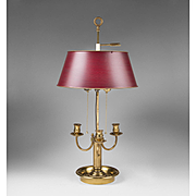 Mid 20th C. Louis XV Style Brass and Tole Bouillotte Lamp