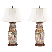 Pair of Famille Rose Chinese Export Vases Fitted As Lamps