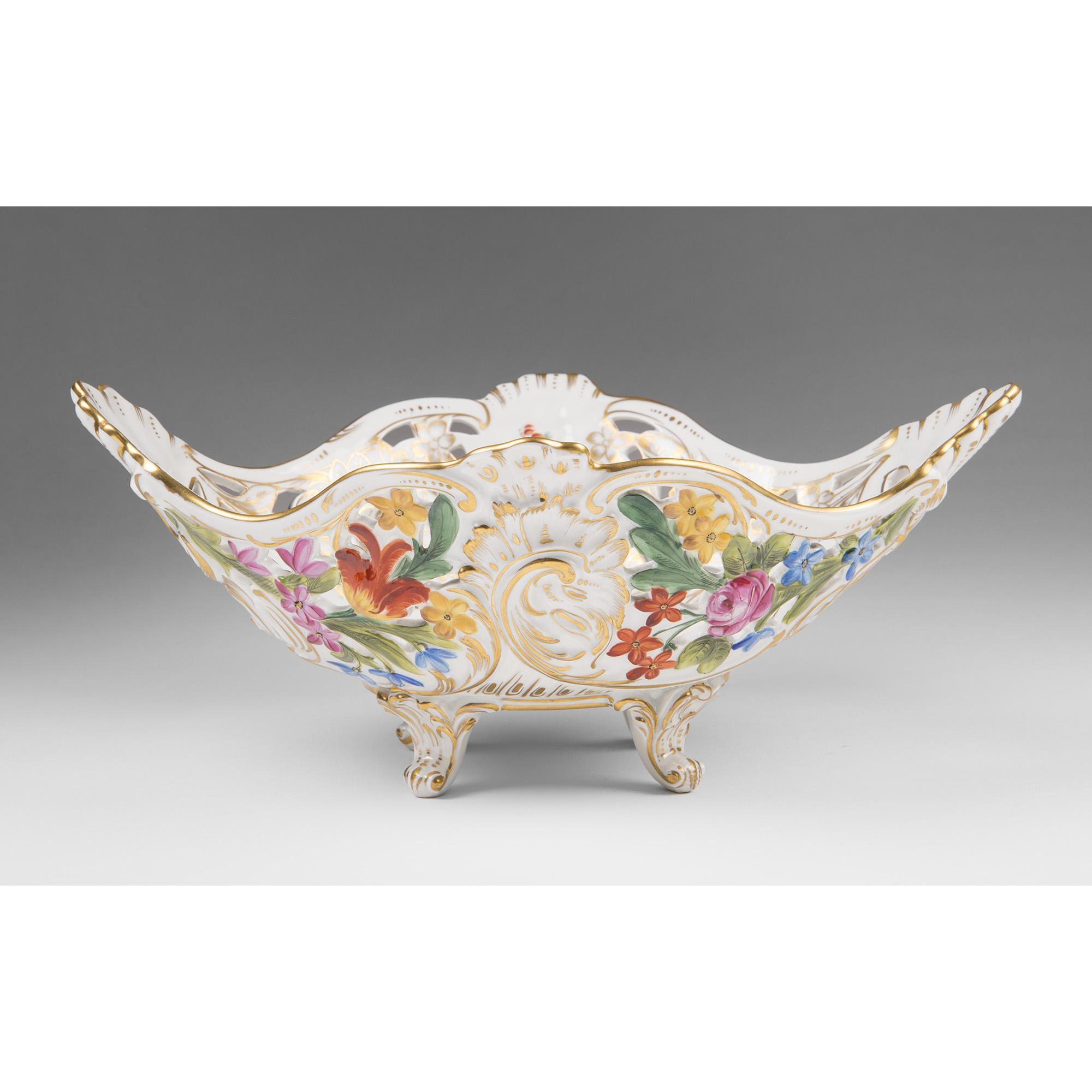 Carl Thieme Dresden Porcelain Reticulated Center Bowl