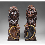 Rare Pair Of Doulton Lambeth Glazed Stoneware Lions