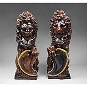 Rare Pair Of Doulton Lambeth Glazed Stoneware Lions
