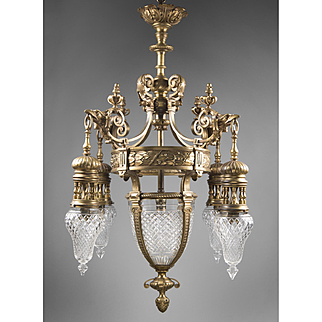 Early 20th C. French Cut Crystal Bronze Lantern Chandelier