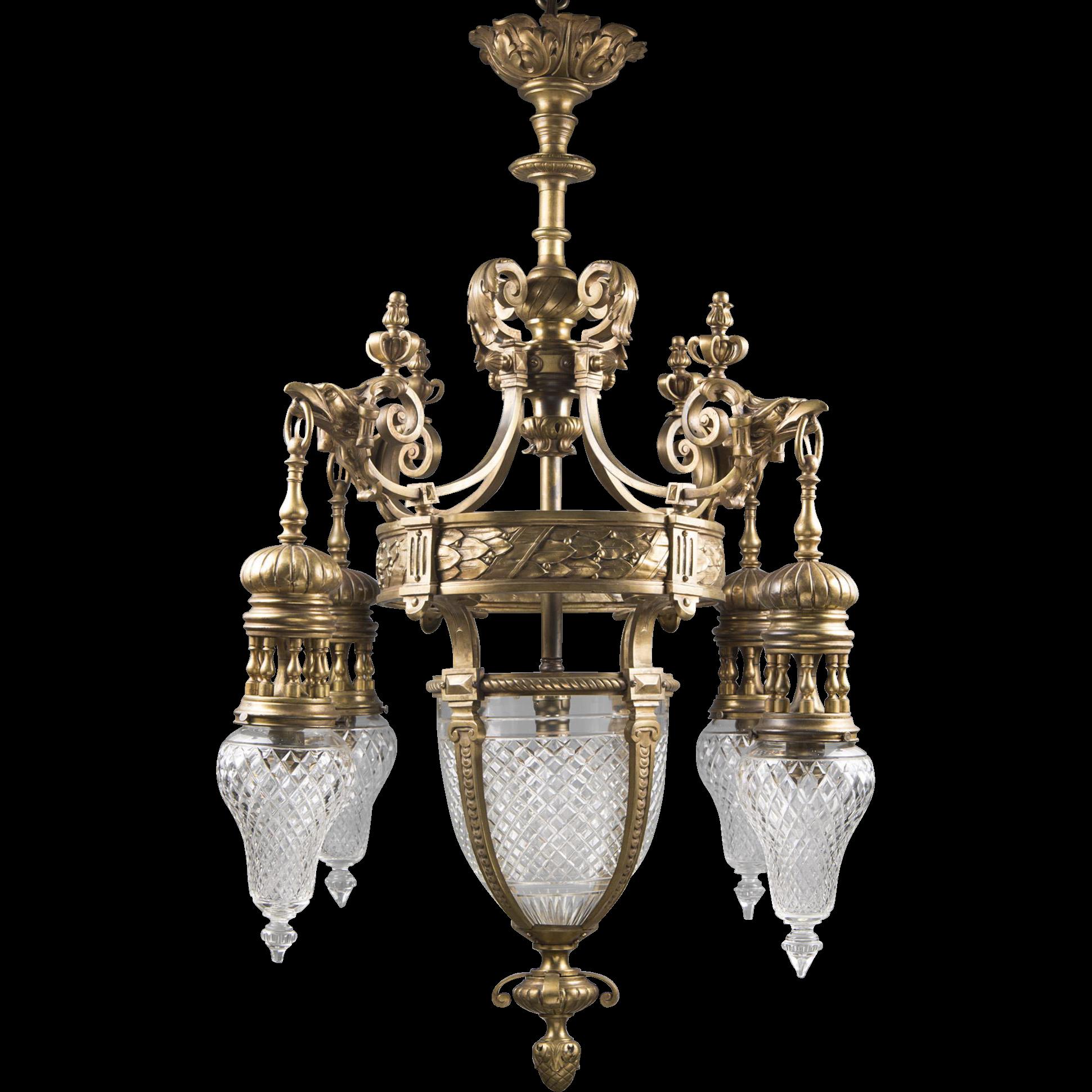 Early 20th C. French Cut Crystal Bronze Lantern Chandelier