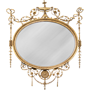 George III English Adams Style Oval Mirror