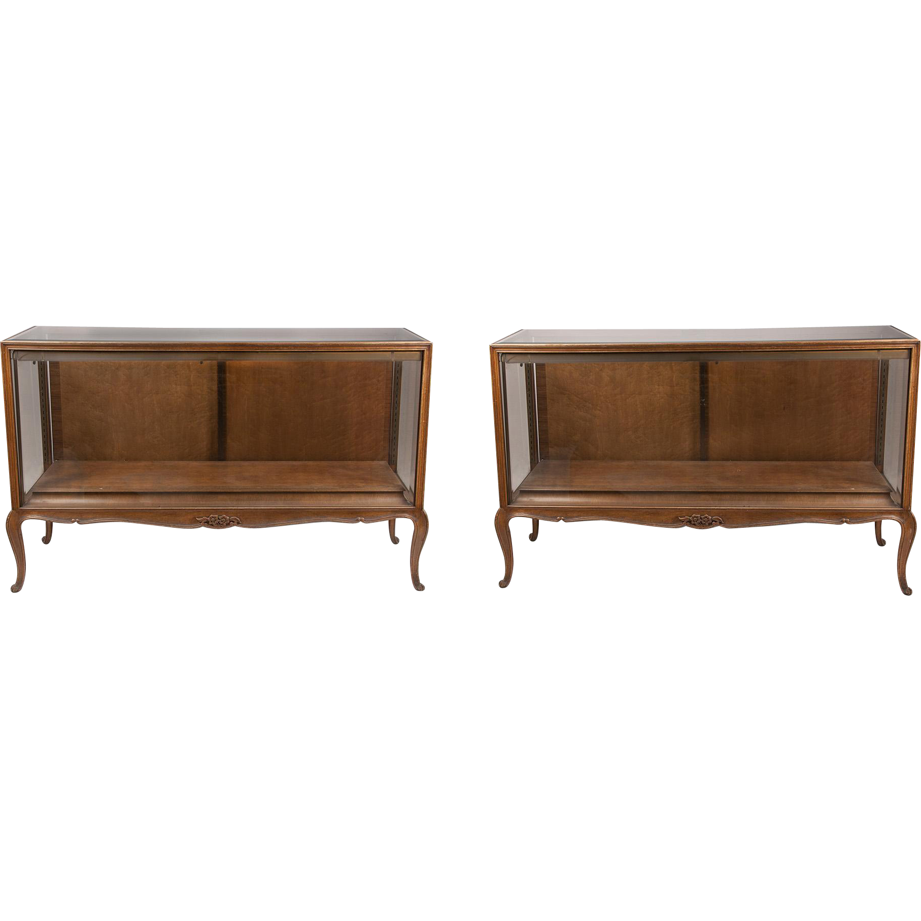 Vintage Louis XV French Provincial Display Cabinets or Vitrines