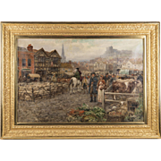 19th C. Oil on Canvas of Marketplace by Henry John Yeend King