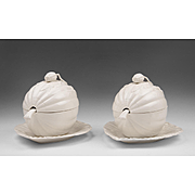 Pair of Vintage Royal Creamware Leedsware Melon Tureens With Covers And Ladles