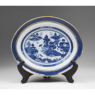 19th C. Blue & White Oval Nanking Chinese Export Platter
