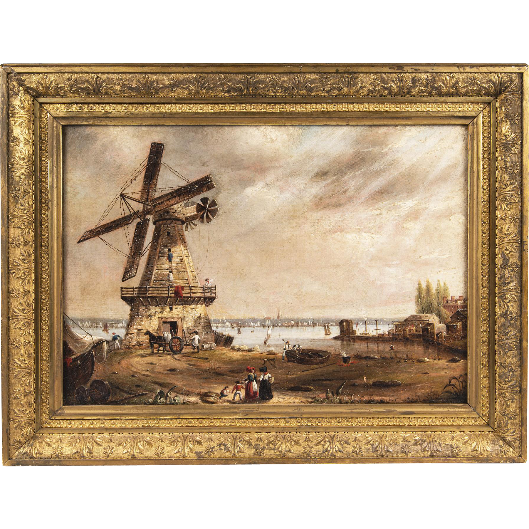 19th C. Oil On Canvas Of Isaac Edge Windmill; Jersey City