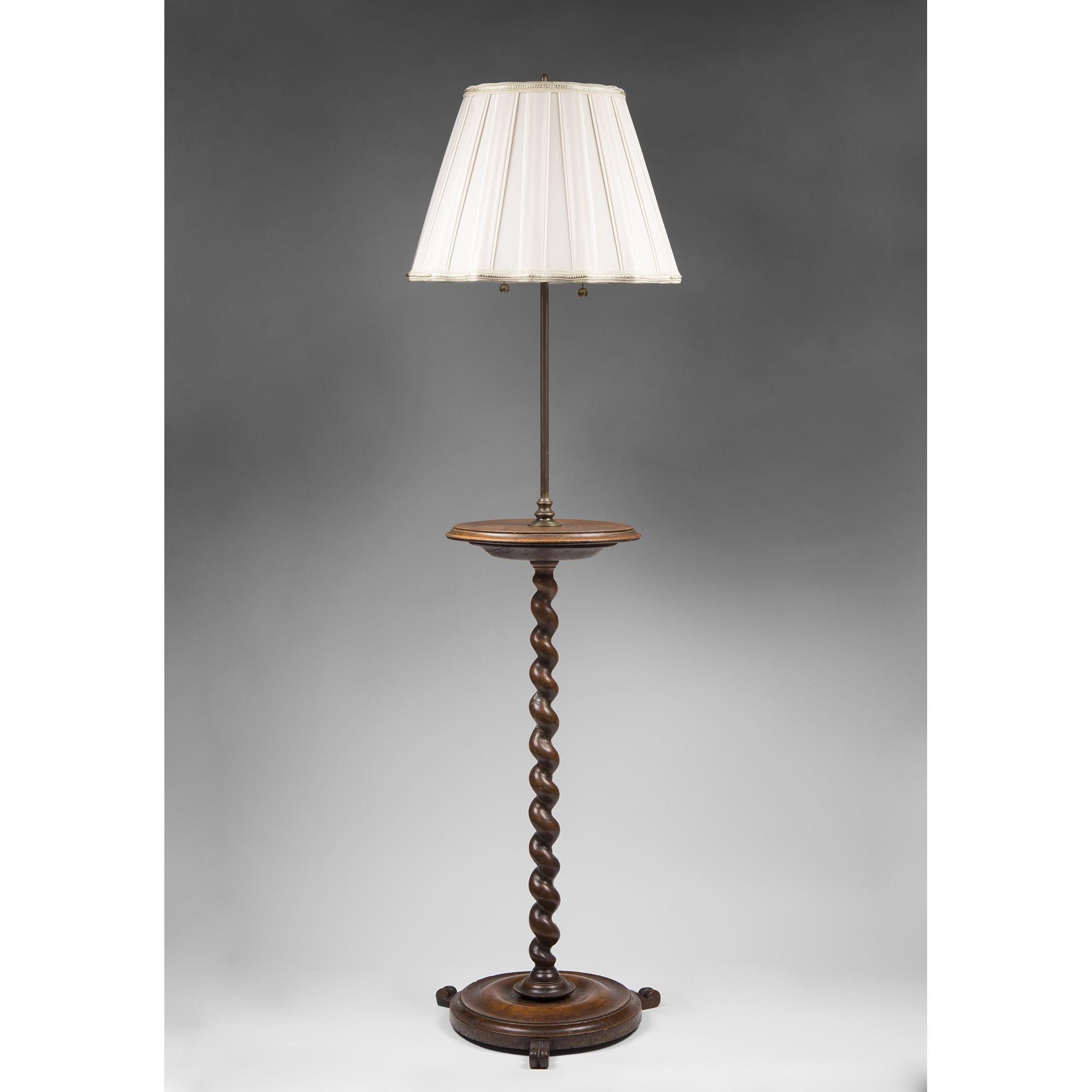 19th C. English Carved Barley Twist Walnut Candle Stand Fitted As Lamp