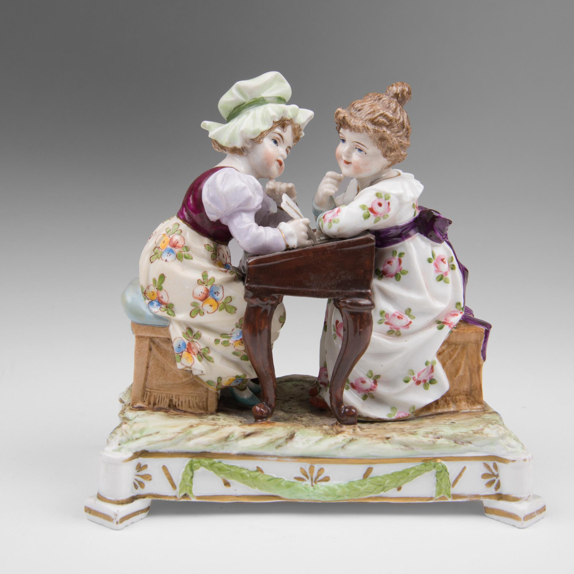 Ernst Bohne Sons Rudolstadt Porcelain Figurine Of Two Girls At Desk
