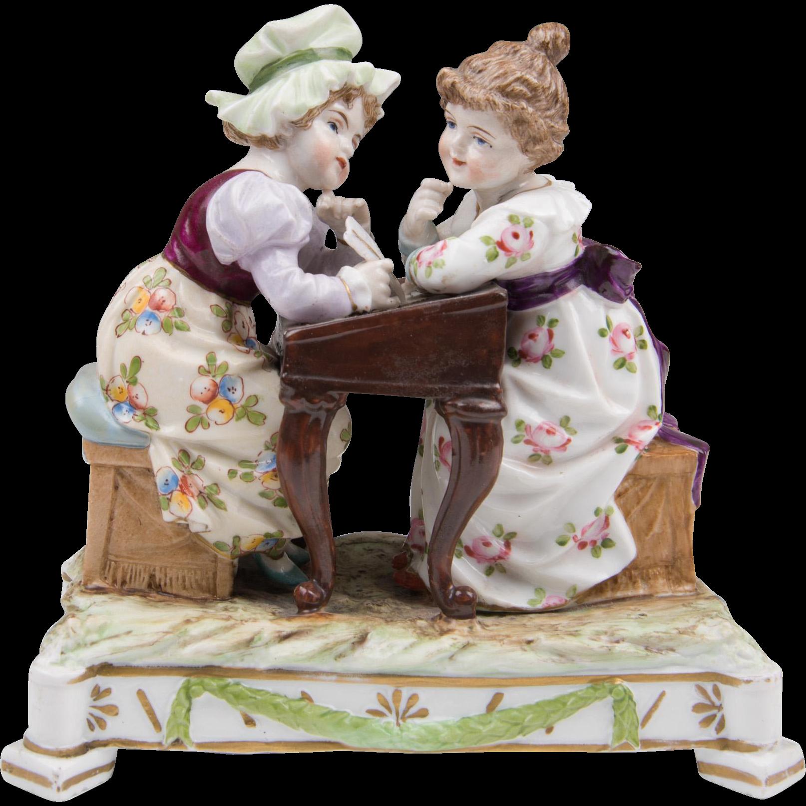 Ernst Bohne Sons Rudolstadt Porcelain Figurine Of Two Girls At Desk