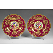Pair of Royal Worcester Cabinet Plates Painted By William Hale