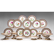 Mid 19th Century English Coalport Hand Painted Dessert Set, 18 Pieces