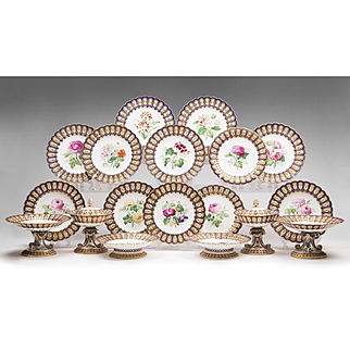 Mid 19th Century English Hand Painted Minton Dessert Set, 18 Pieces
