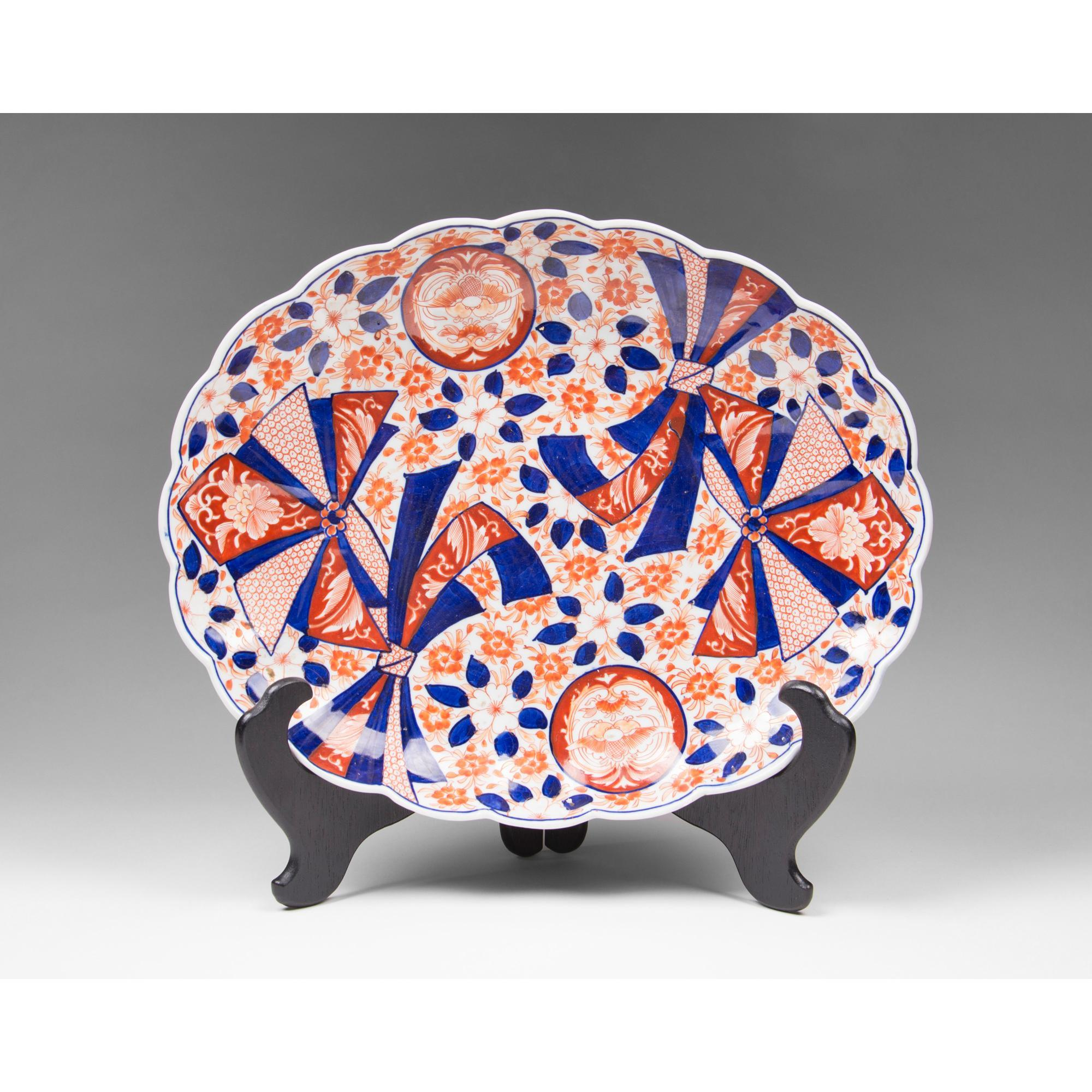 Meiji Period Japanese Imari Platter With Scalloped Rim