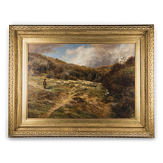 English Pastoral Oil On Canvas By Charles Edward Johnson, Highland Sheep