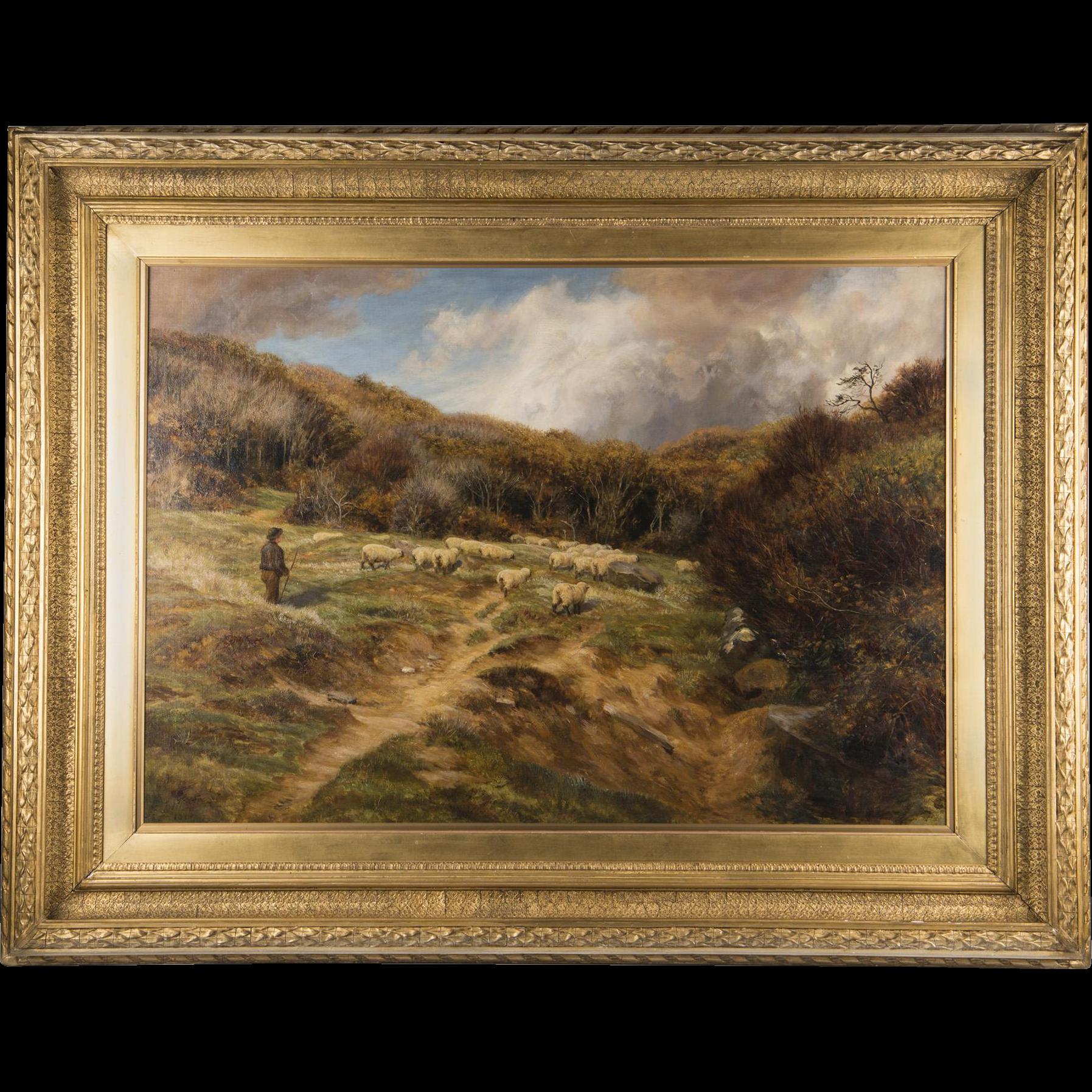 English Pastoral Oil On Canvas By Charles Edward Johnson, Highland Sheep