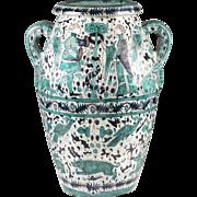 Large Cantagalli Glazed Terracotta Majolica Floor Vase or Wine Cistern