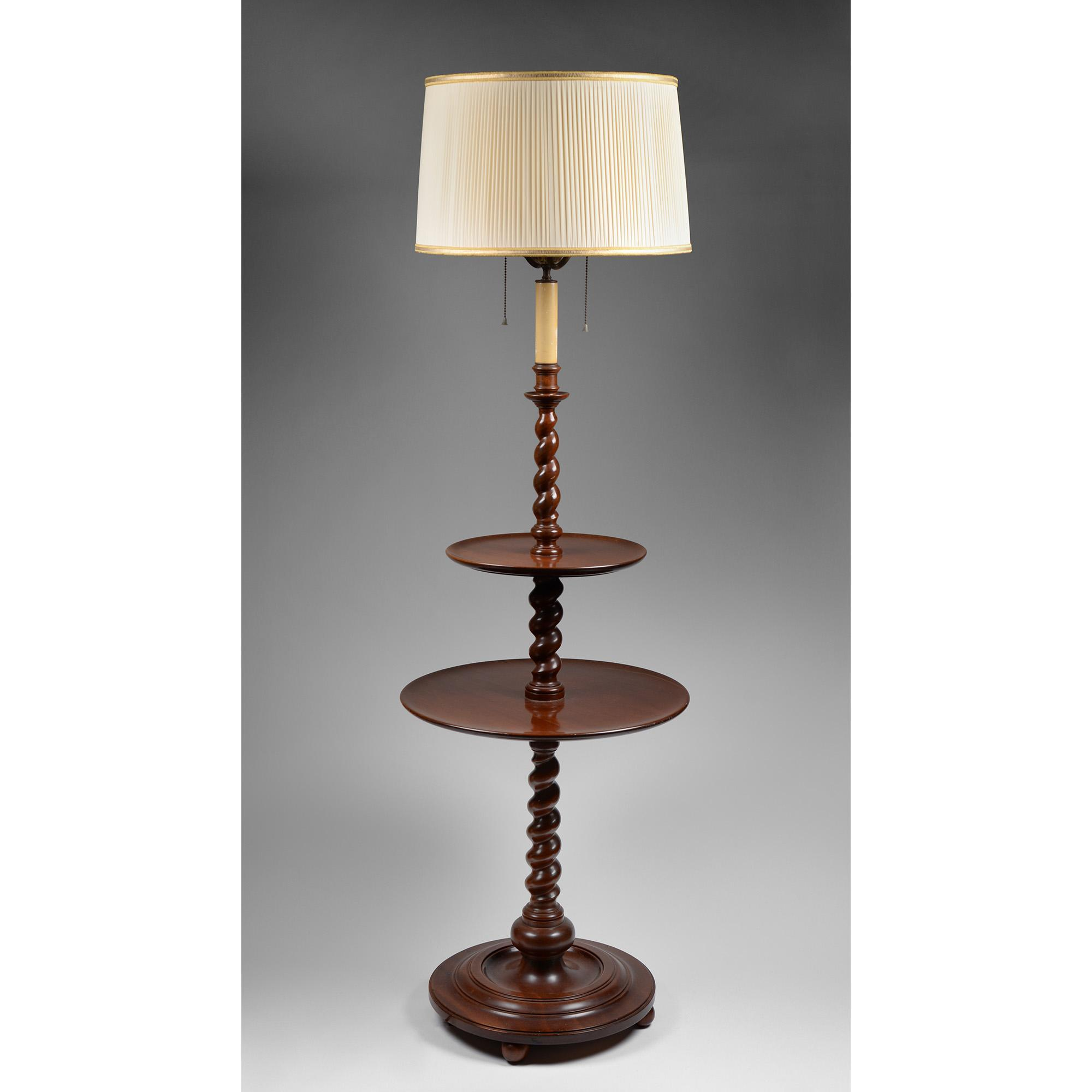 English Carved Walnut Double Pedestal Barley Twist Floor Lamp