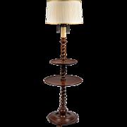 English Carved Walnut Double Pedestal Barley Twist Floor Lamp