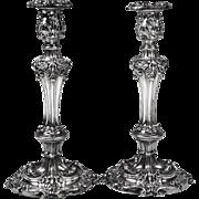 English Georgian Style Silverplate Candlesticks