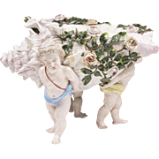 Large 19th Century Sitzendorf Voight Brothers Porcelain Shell Carried By Cherubs