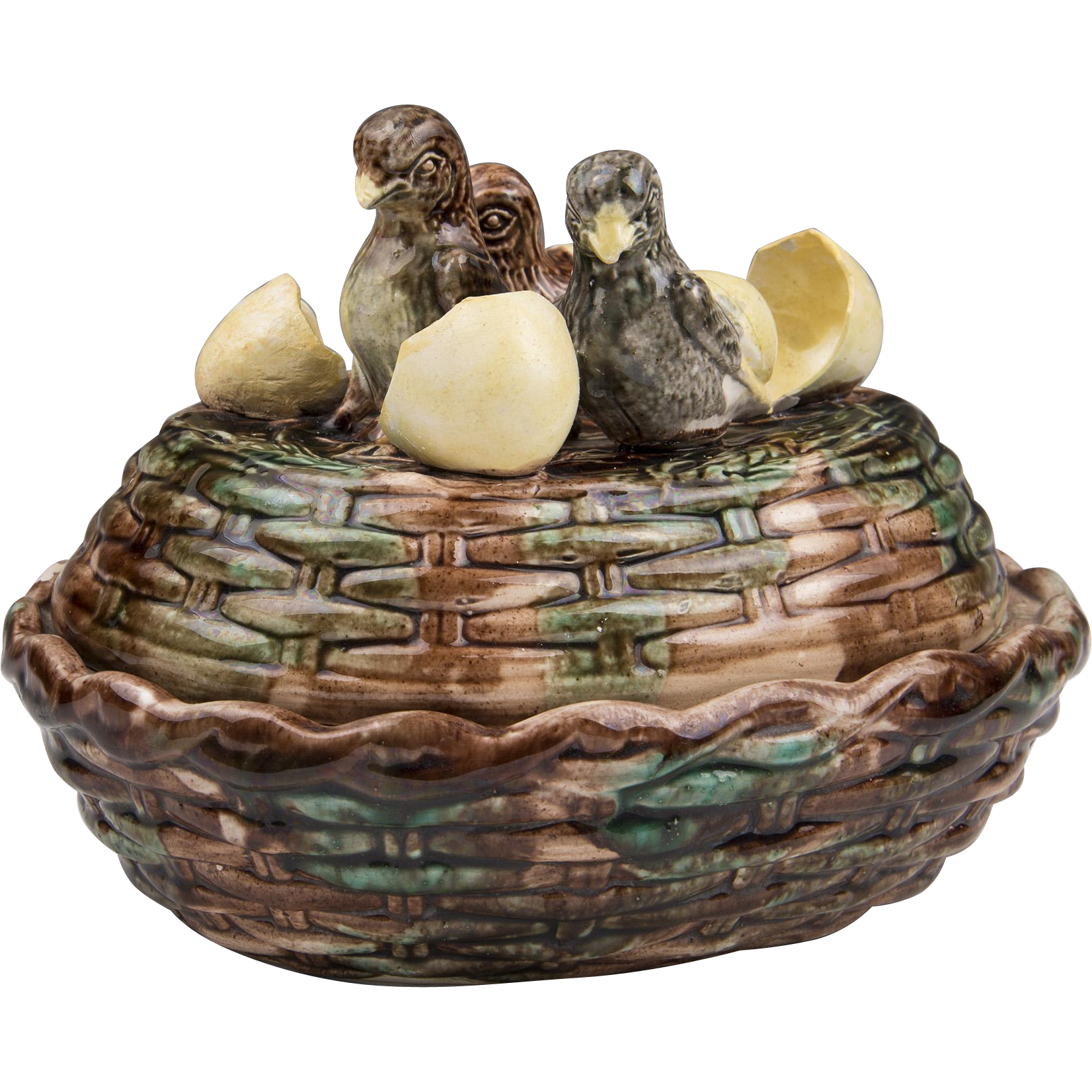 19th C. Victorian French Majolica Hatching Chicks Tureen