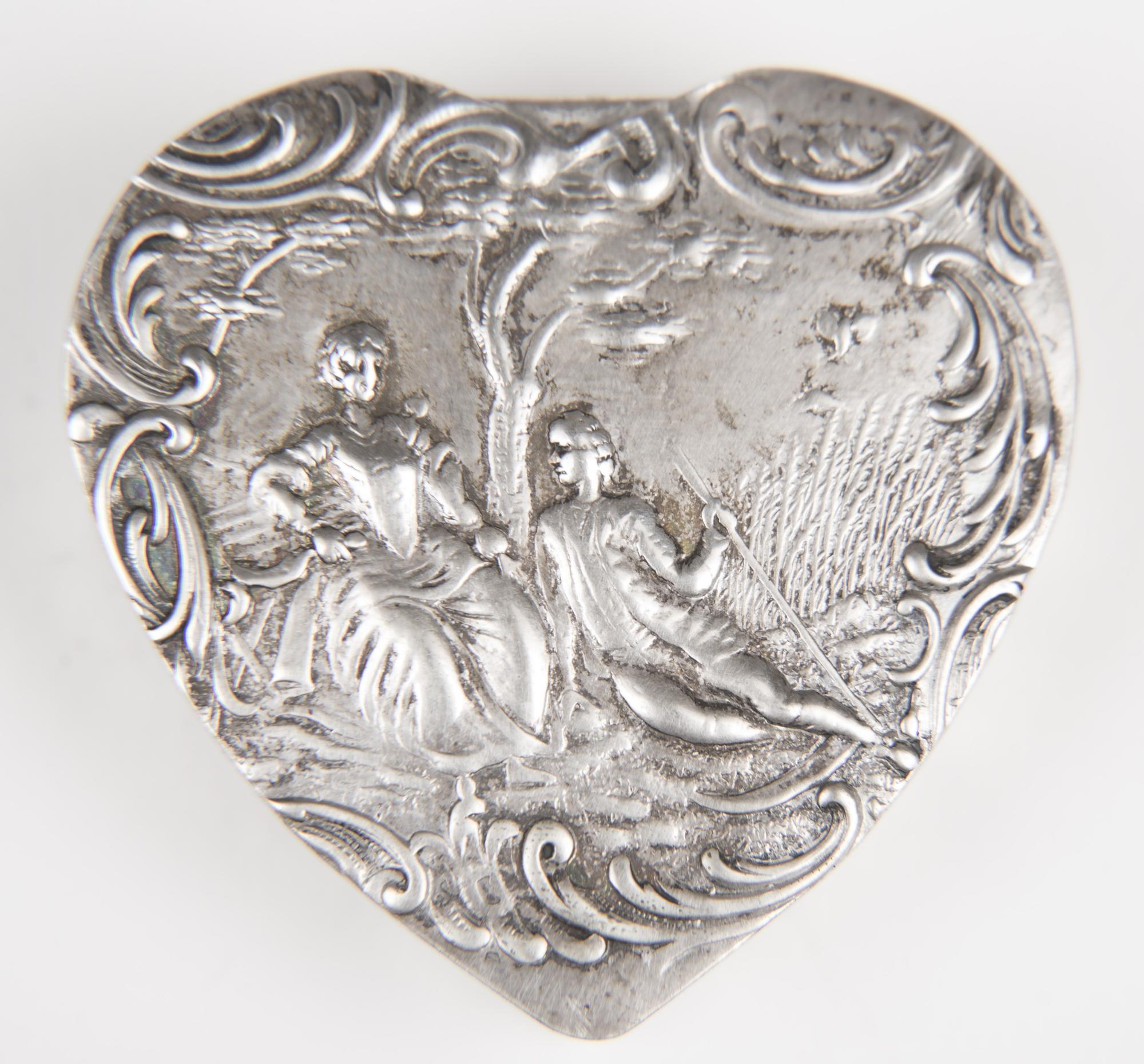 19th C. German Sterling Repousse Heart Shaped Box
