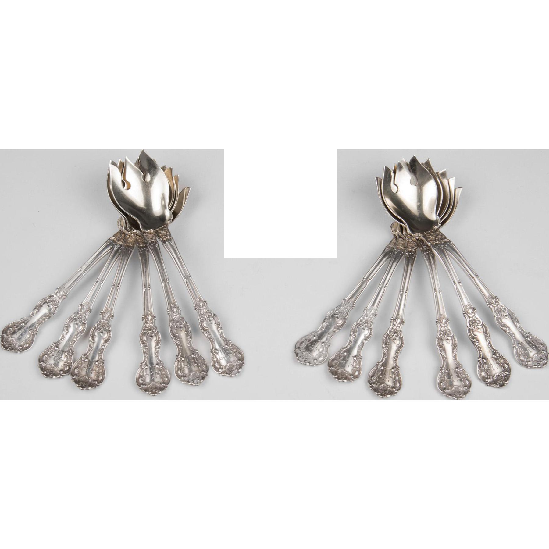 Set of 12 Gorham Fleury 1909 Sterling Silver Ice Cream Forks