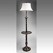 Late 19th C. English Regency Style Japanned Torchiere Floor Lamp