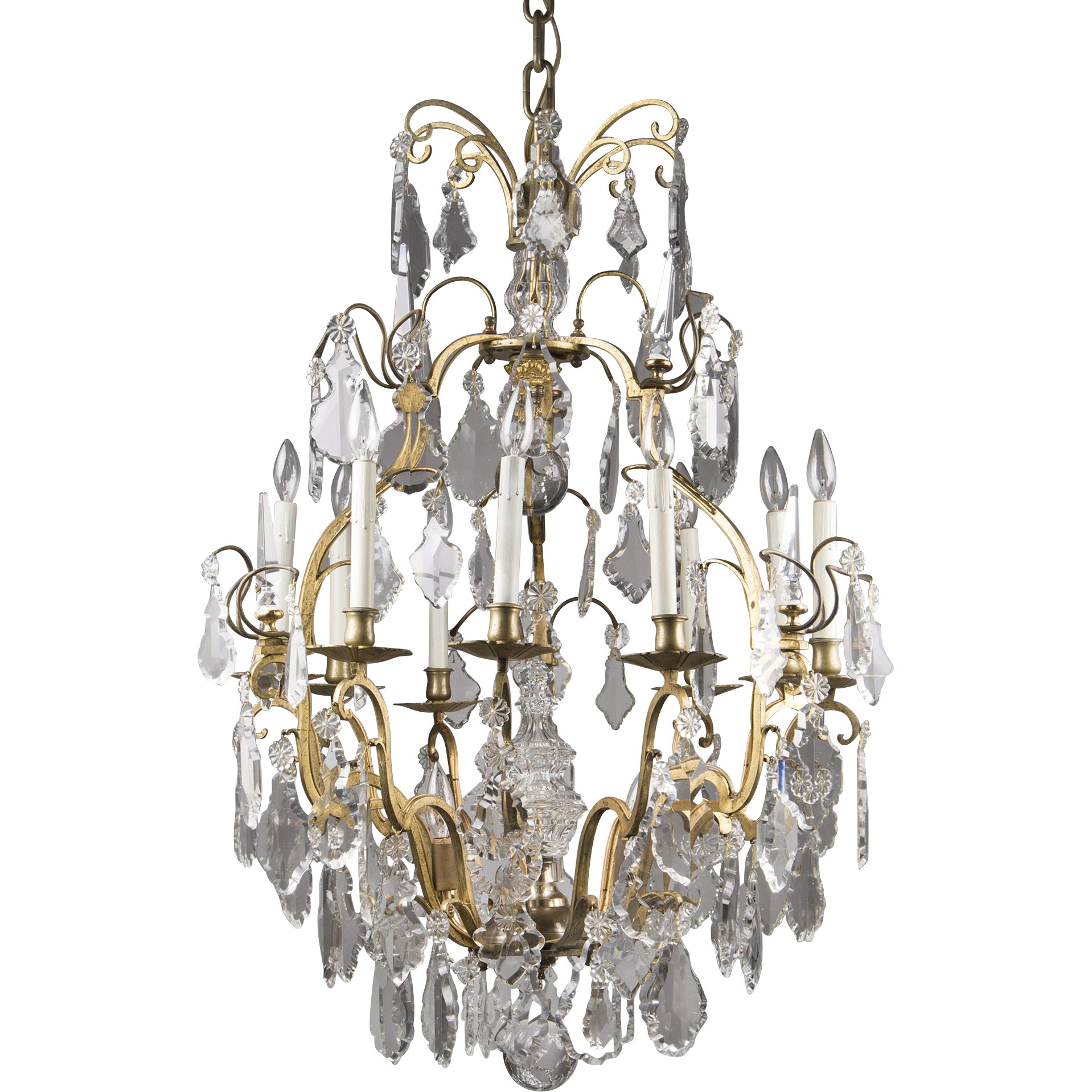 19th C. French Baccarat Crystal Louis XV Style Chandelier, 12 Lights