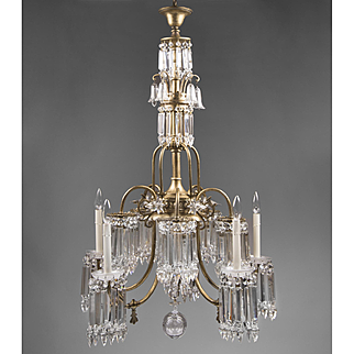 Late 19th C. Ten Light Crystal Tower Gasolier