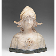 Adolfo Cipriani Italian Marble and Alabaster Bust