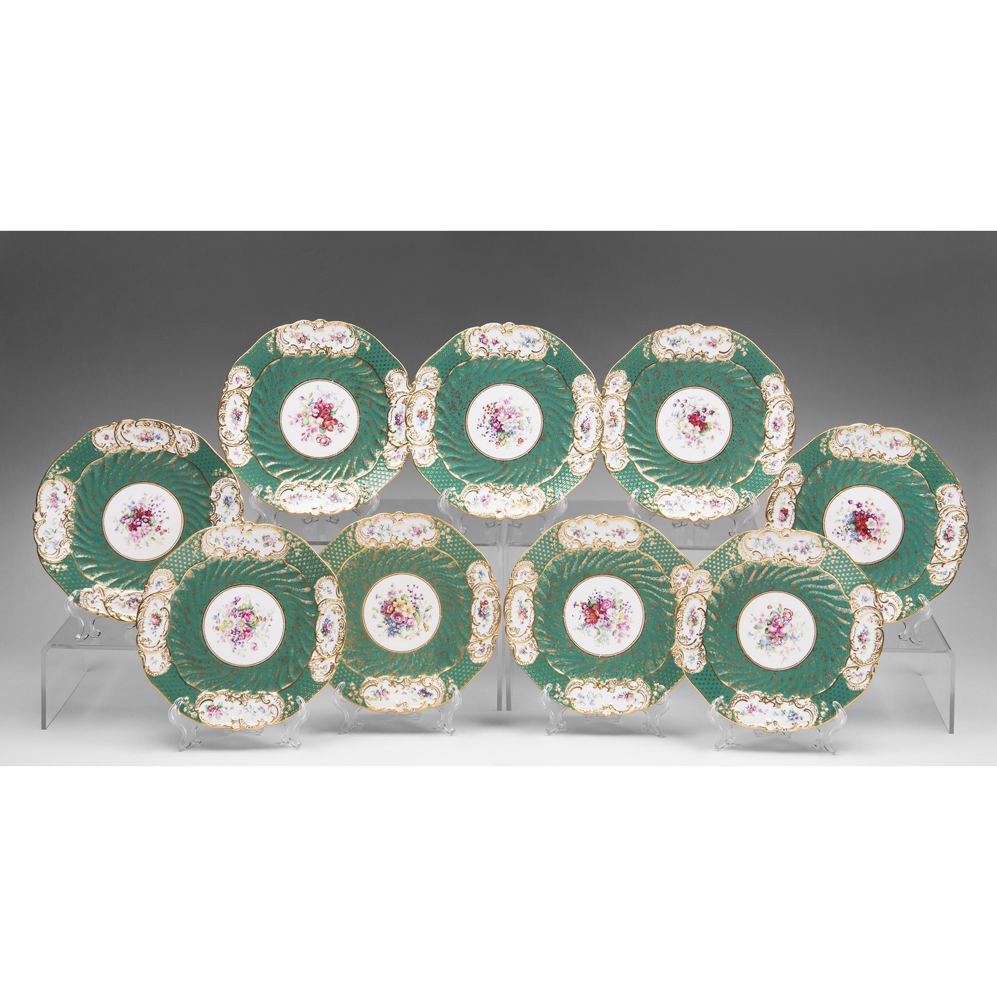 Set of Nine Copeland China Hand Painted Dinner or Luncheon Plates