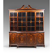 18th C. Georgian Mahogany And Satinwood Inlaid Library Breakfront Bookcase