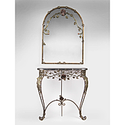 Mid 20th C. French Wrought Marble Top Console With Mirror En Suite