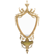 George III Adams Shield Shaped Carton Pierre Draped Mirror With Bracket Shelf