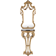 Late 19th C. Louis XV Giltwood and Composition Petitie Mirror and Console