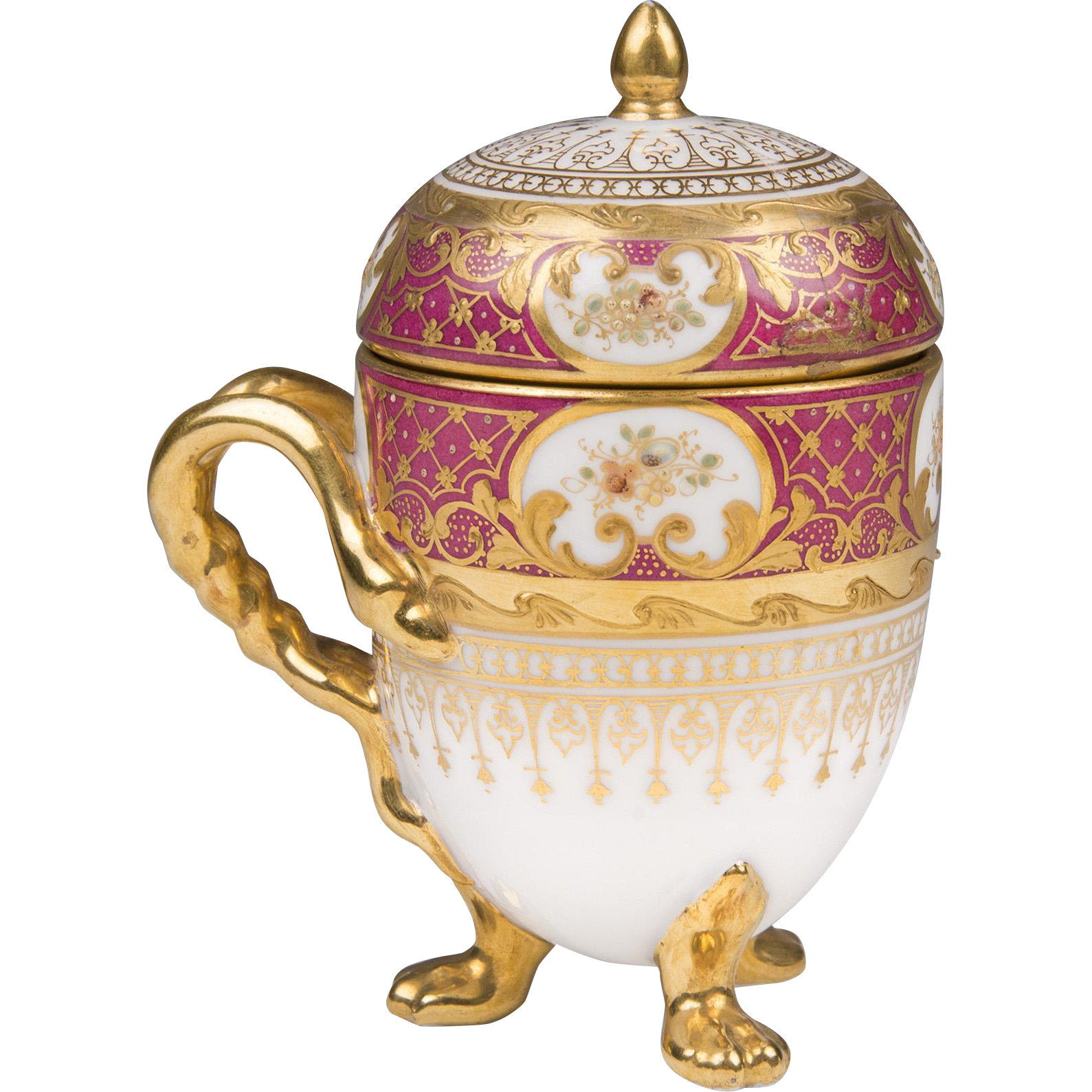 19th C. German Porcelain Pot de Creme; Heufel Decorated