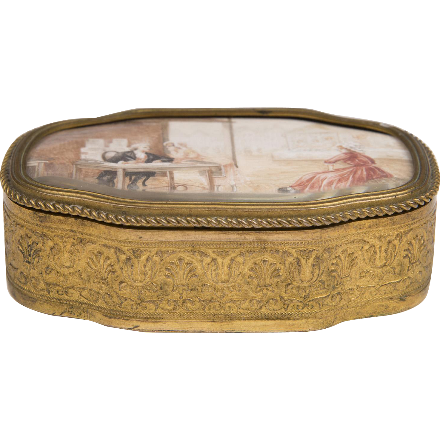 19th C. French Gilt Bronze Ring Box With Hand Painted Top