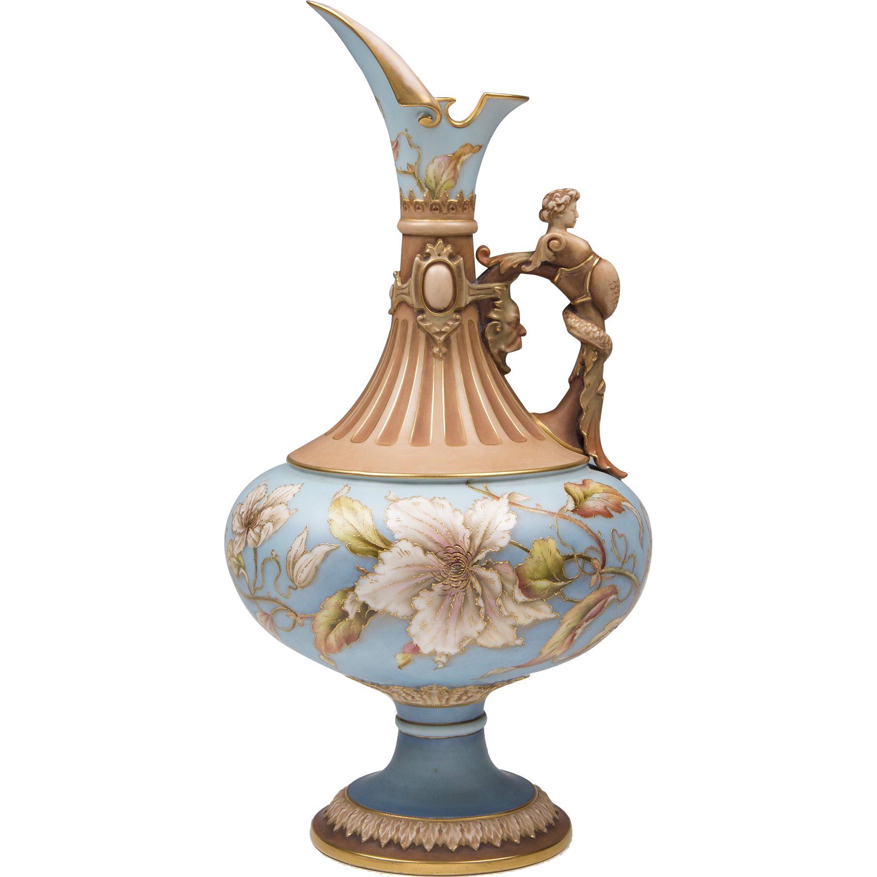 1891 Royal Worcester Ewer With Melusine Mounted Handle