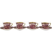 Set of 4 Wedgwood Etruria Scenic Transfer Mulberry Cups & Saucers