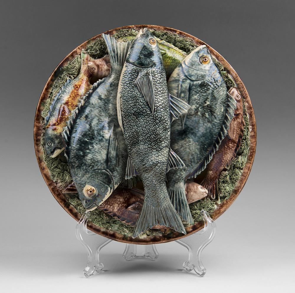Palissy Ware Plate of Fish by Jose Francisco de Sousa, Portugal