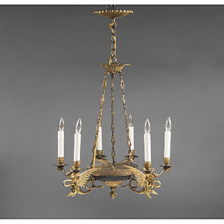 French Empire Style 6 Light Chandelier With Griffins