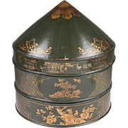 Green Lacquered Wooden Chinoiserie Chinese Hat Box