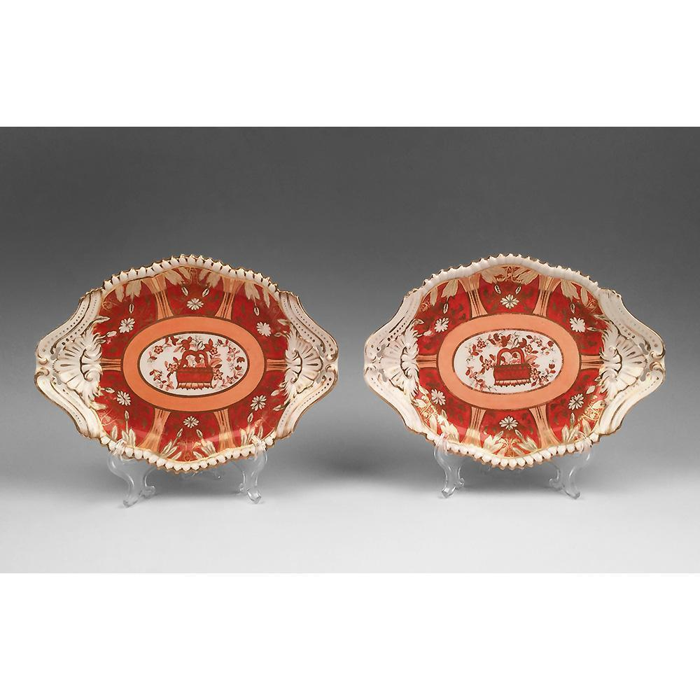 Pair of 19th C. Lozenge Shaped Spode Copeland Side Dishes