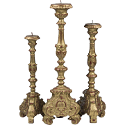 Set of Three Italian Gilded Wood Composition Pricket Candlesticks