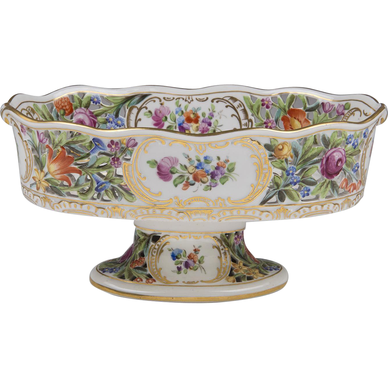 Carl Thieme Dresden Porcelain Reticulated Bolted Compote