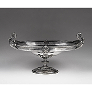 Sheffield Silverplate Epergne Or Compote With Swan Handles